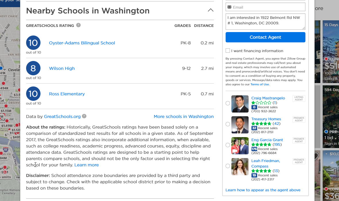 Schools Data on Zillow