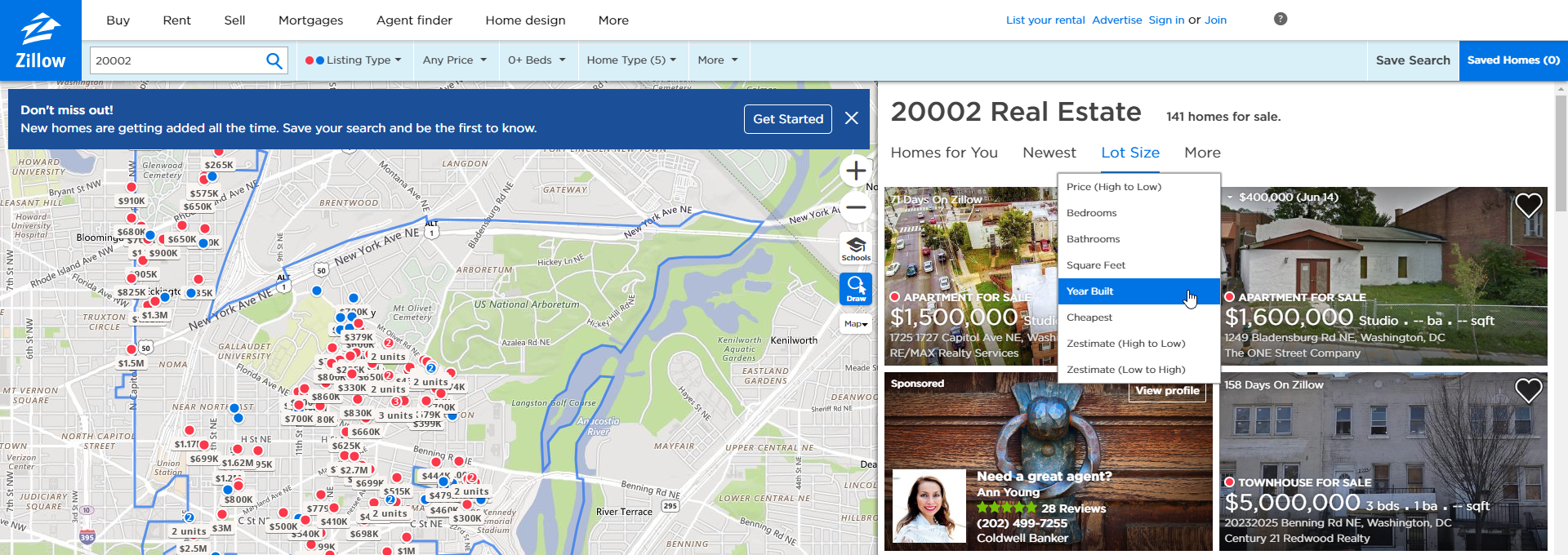 Property filter on Zillow